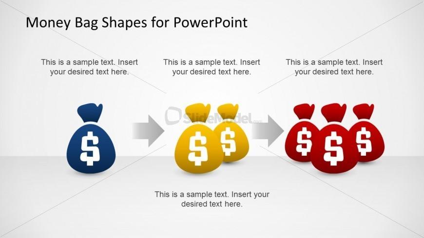 3 Money Bag Shapes for PowerPoint - SlideModel X Arrow Money Bag