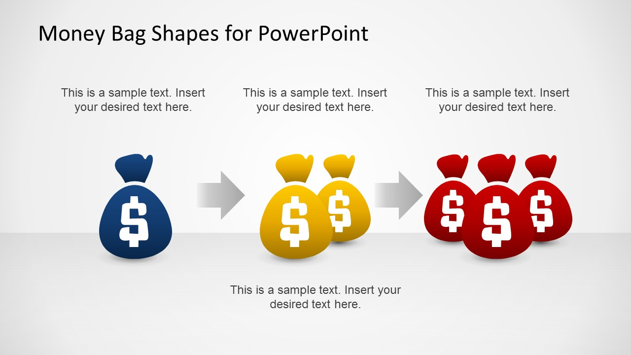 3 Steps Money Bags Process for PowerPoint