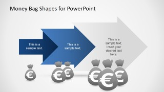 PowerPoint Arrow Sequence of Money Bags with Euro
