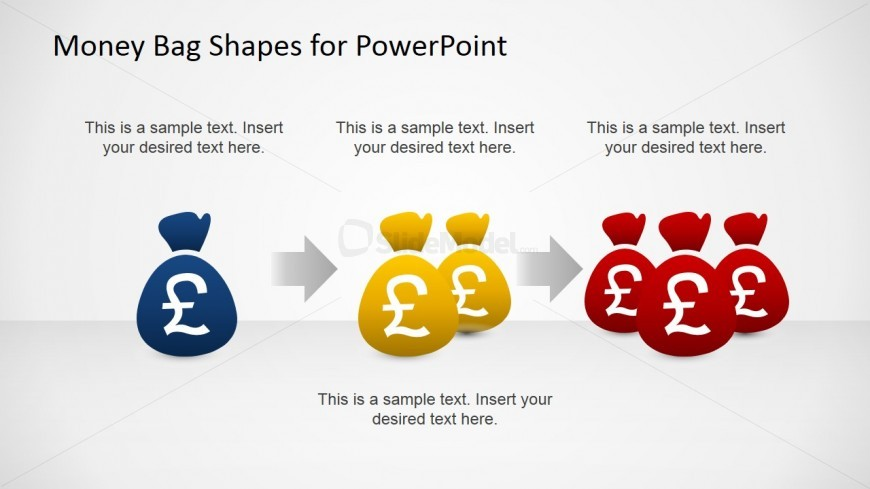 PowerPoint Shapes Featuring a Revenue Increase Stream