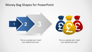 3 Steps Arrow Flow Into Money Bags with Pound Currency