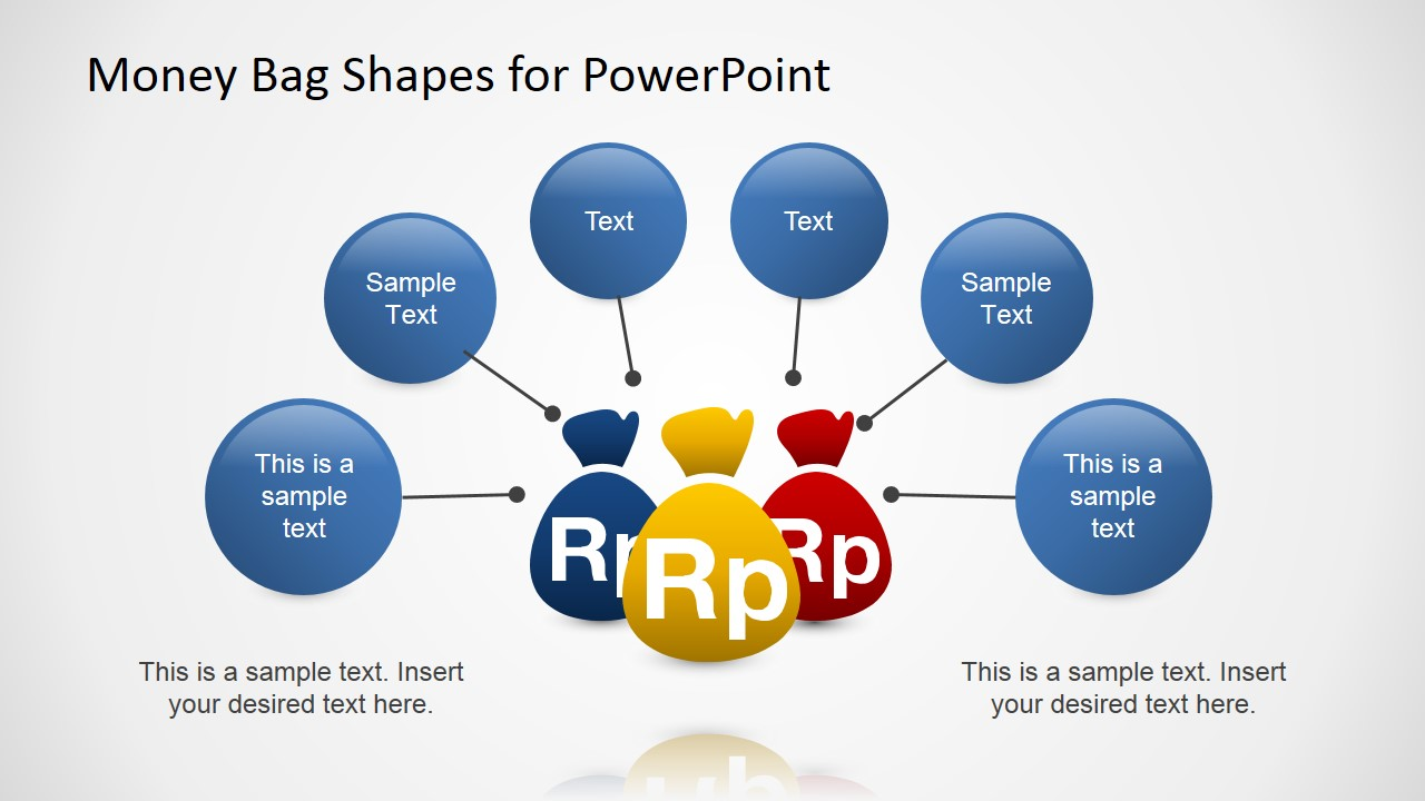 PowerPoint Shapes of Money Bags with Rupees Currency