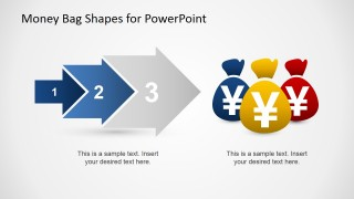 PowerPoint Arrow Chevron Diagram Pointing Three Money Bags