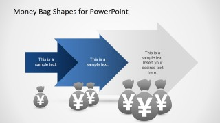 PowerPoint 3 Steps Arrow Process with Yen Currency Symbol