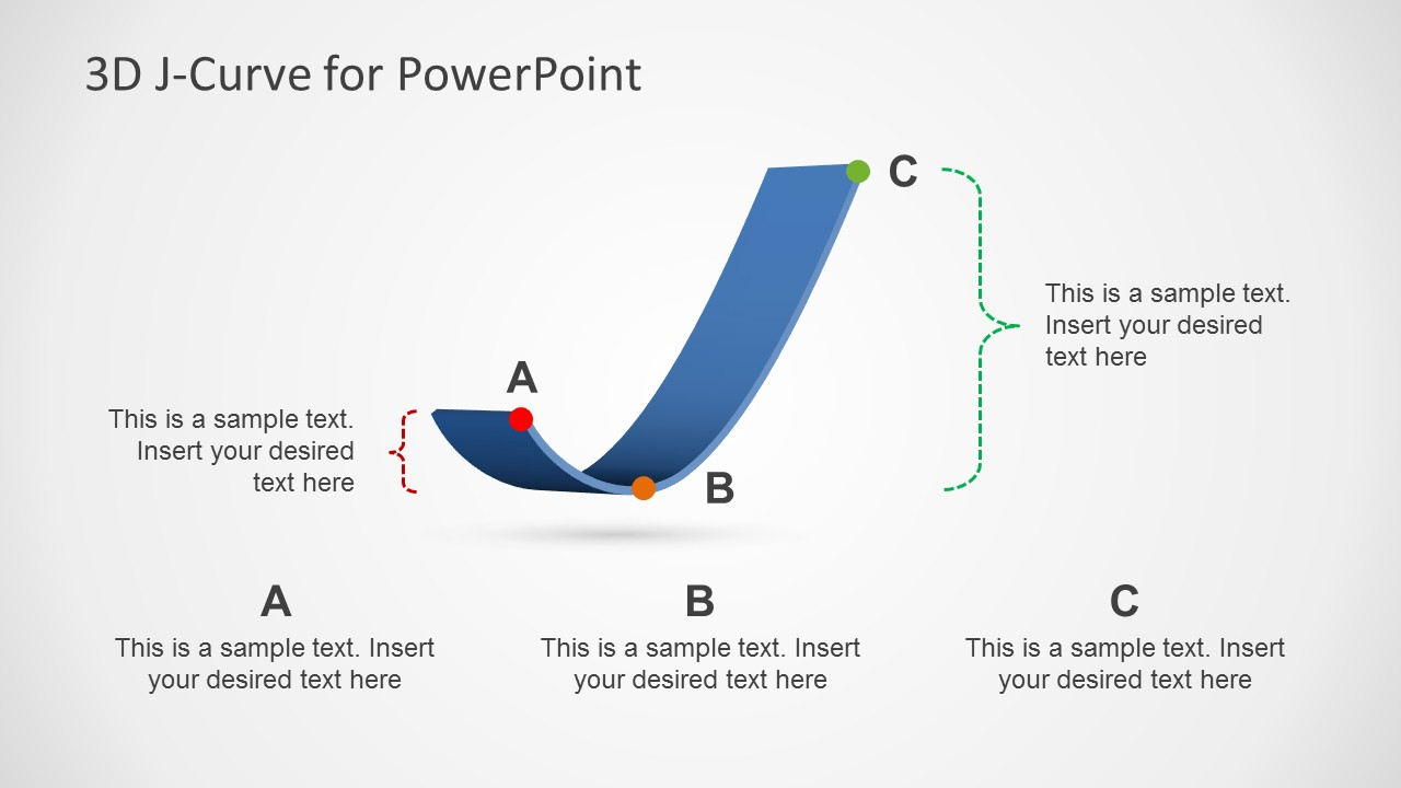 J Curve Slide Design with 3D Effect for PowerPoint