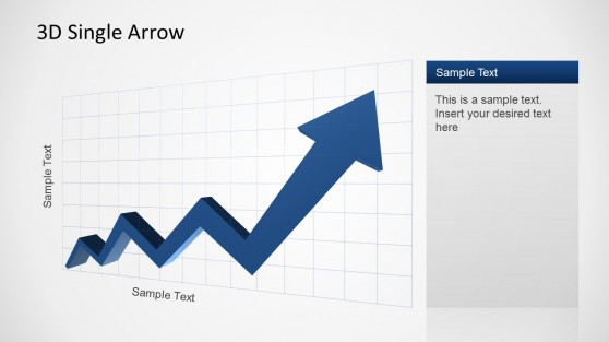 Blue 3D PowerPoint arrow showing an increasing trend over X Axis.
