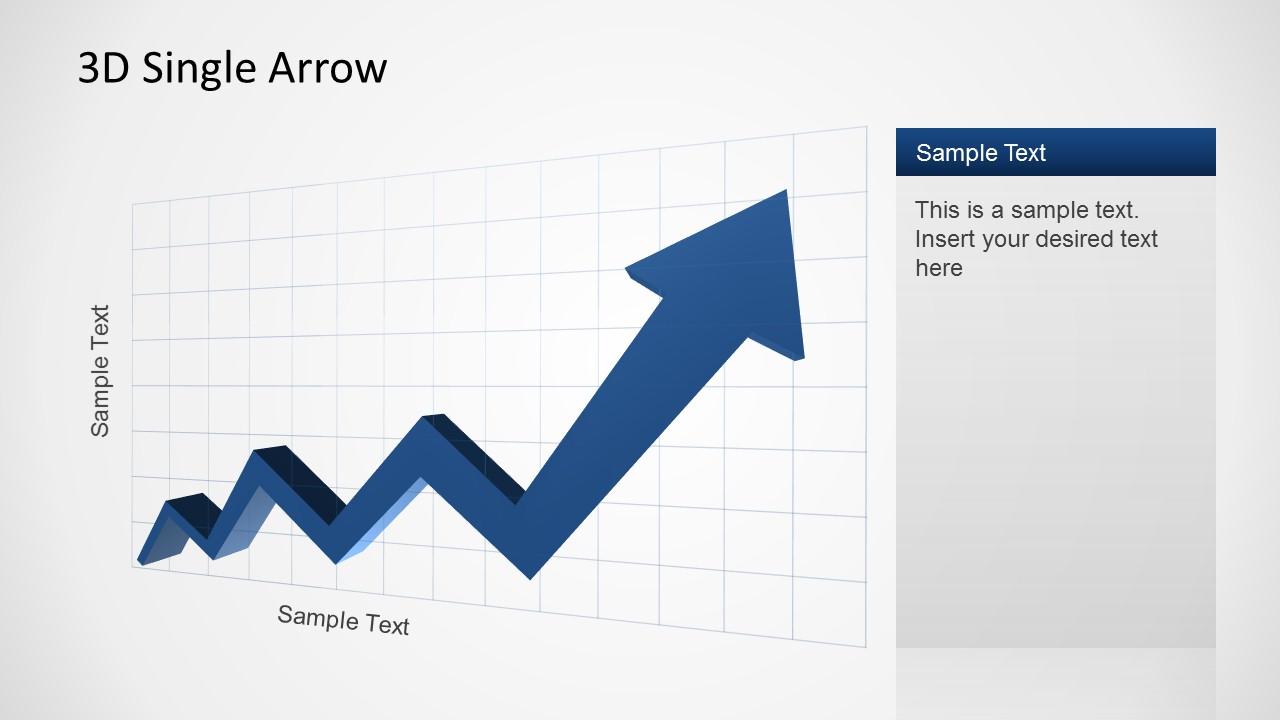 3D PowerPoint Arrow with increasing Trend in Zig Zag.