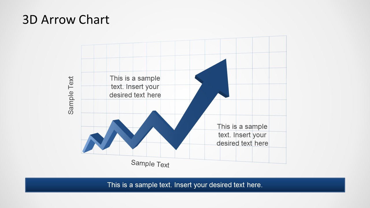 Blue PowerPoint Arrow with Text markers in the Chart Grid.