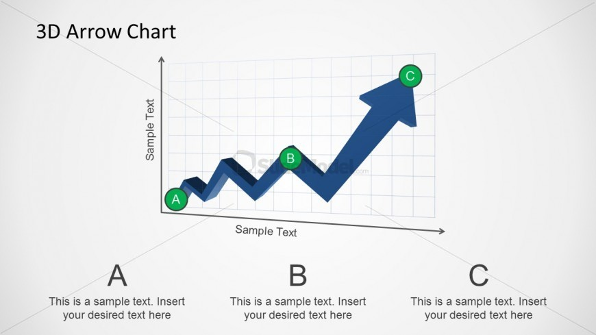 Professional PowerPoint 3D Line Chart with increasing trend arrow and markers.