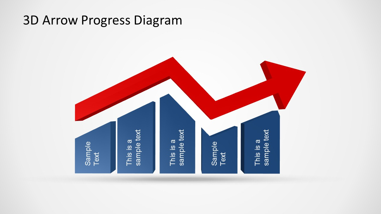 3d arrow progress diagram template for powerpoint slidemodel amusing 3d powerpoint charts with area and line charts ccuart Images