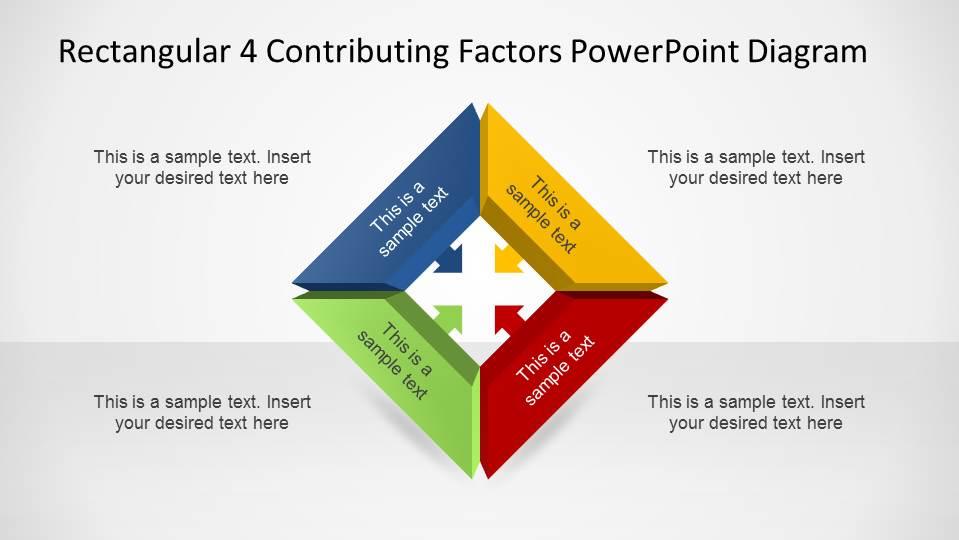 Rectangular 3D 4 Contributing Factors PowerPoint Diagram