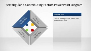 Rectangular 4 Contributing Factors PowerPoint Template Blue Polyedron