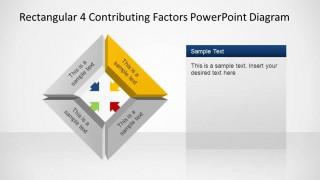 Rectangular 3D 4 Contributing Factors PowerPoint Diagram Yellow