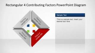Rectangular 4 Contributing Factors PowerPoint Template Red