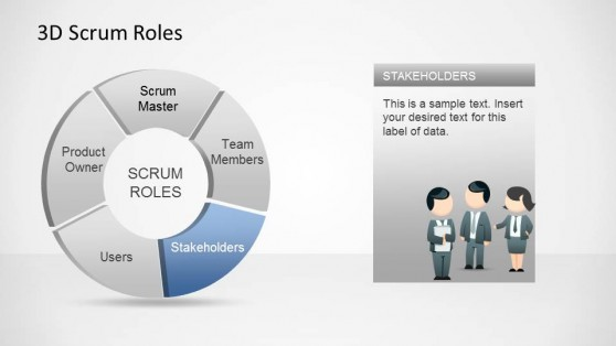 3D Agile Scrum Roles PowerPoint Diagram Stakeholders