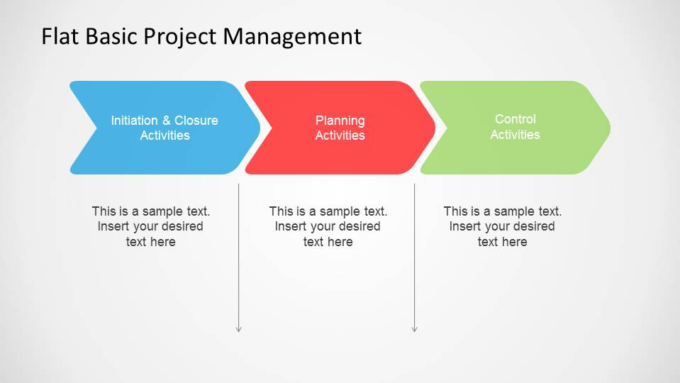 Flat basic project management powerpoint diagram for High level project plan template ppt