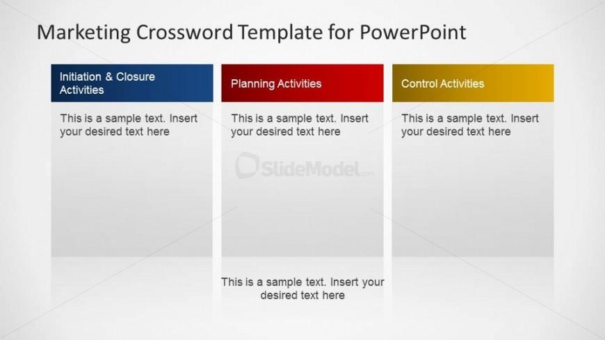Three Text boxes to describe a Marketing Plan
