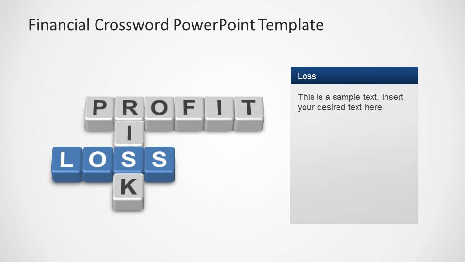 Profit & Loss Crossword with Risk perpendicular