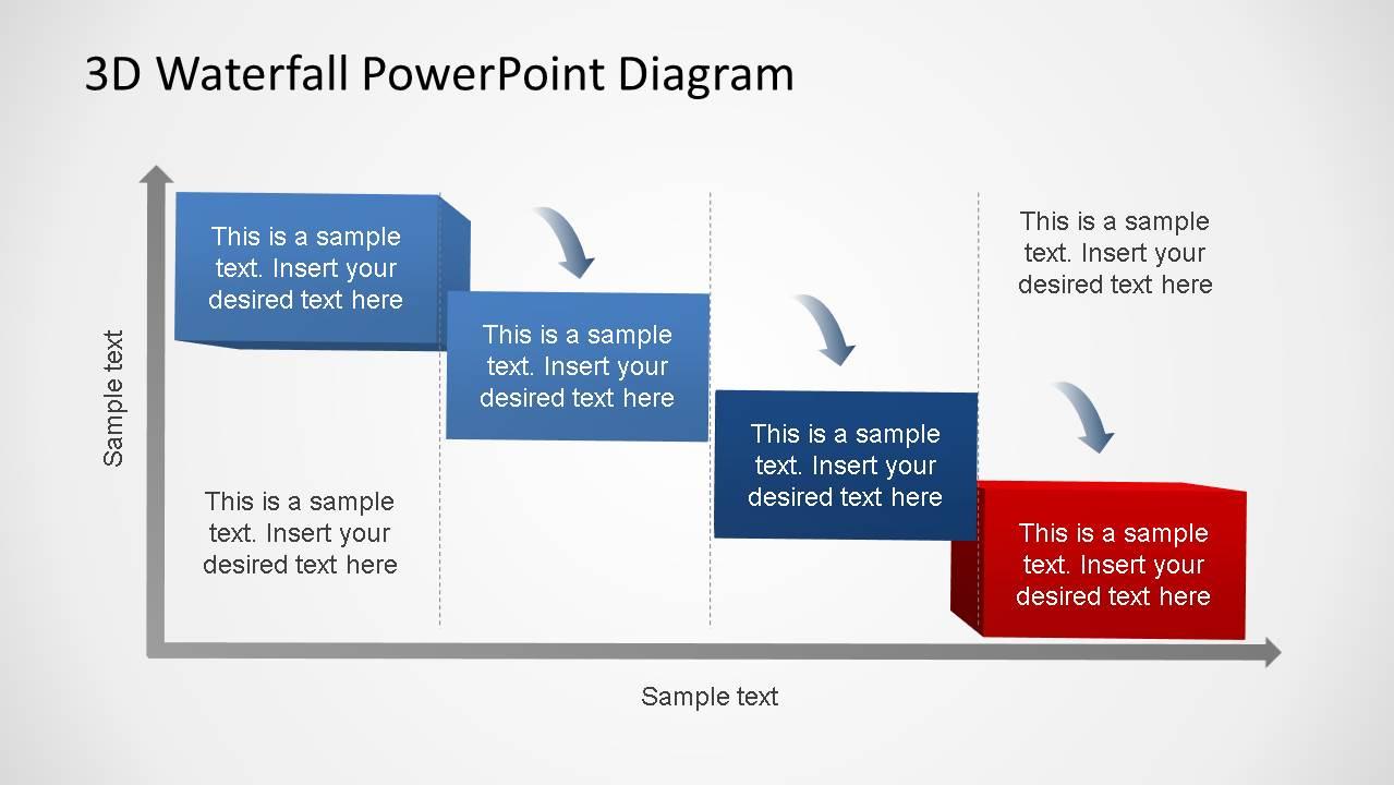 3d generic waterfall powerpoint diagram slidemodel generic waterfall process diagram 4 steps ccuart Gallery