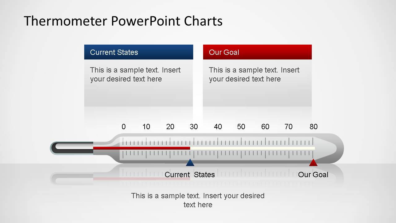 Horizontal thermometer PowerPoint chart with editable bar and text.