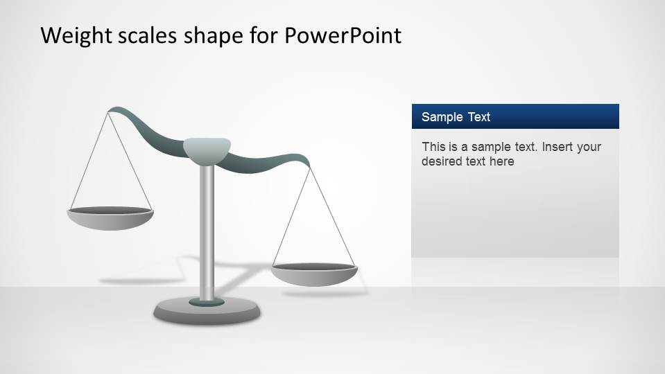 PowerPoint Weight Scale shape inclined to the right to represent more relevance or importance.