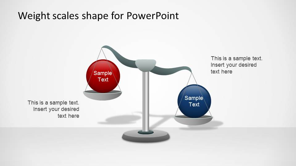 PowerPoint Shape Weight Scale with concepts inclined to the right for the blue sphere