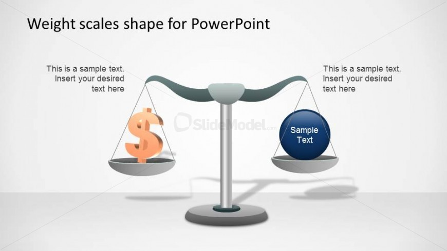 Weight Scale PowerPoint Shapes comparing spending vs concept