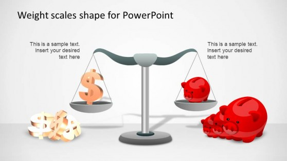 PowerPoint Template Weight Scale comparing dollars vs piggy safe