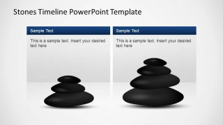 Two Textboxes with PowerPoint Stone Shapes for describing timeline milestones.