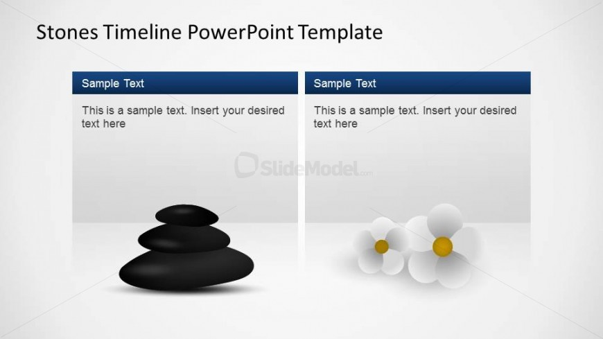 PowerPoint Template Timeline Textboxes description of milestones with Stones and Flowers