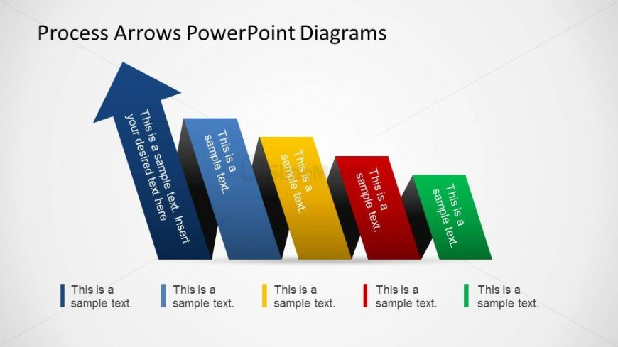 PowerPoint Process Flow moving from right to left increasing funnel.