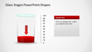 PowerPoint Glass Shape with Decreasing Arrow and Vertical Axis