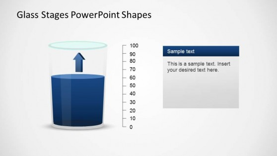 Blue content PowerPoint glass Shape with increasing Tendency