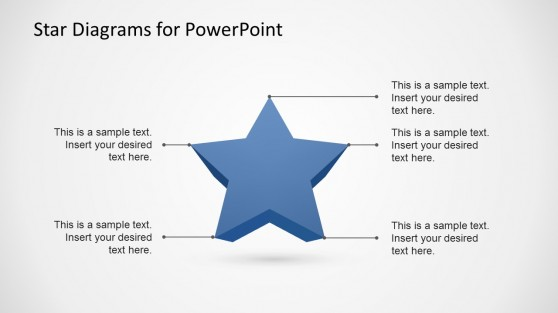 3D Star Diagram Shape for PowerPoint