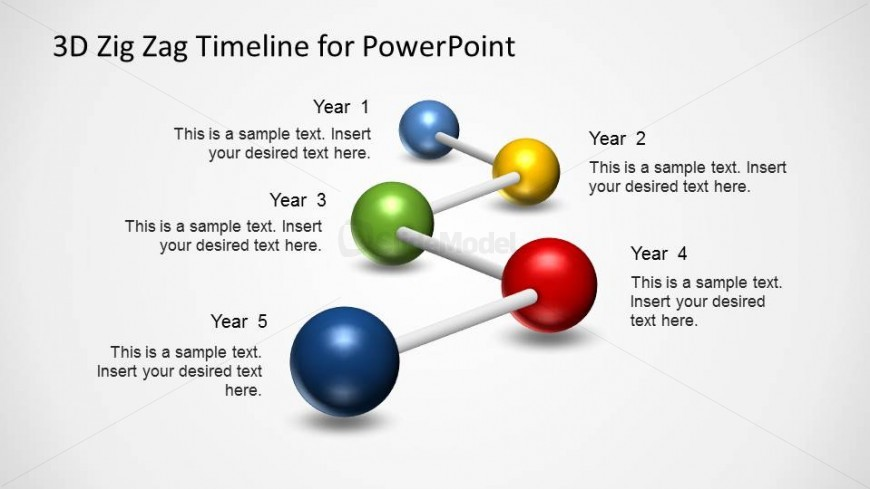 5 Steps PowerPoint timeline created with 3D balls and sticks.
