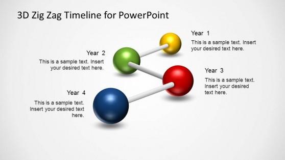Four Milestones 3D Zig Zag PowerPoint Timeline