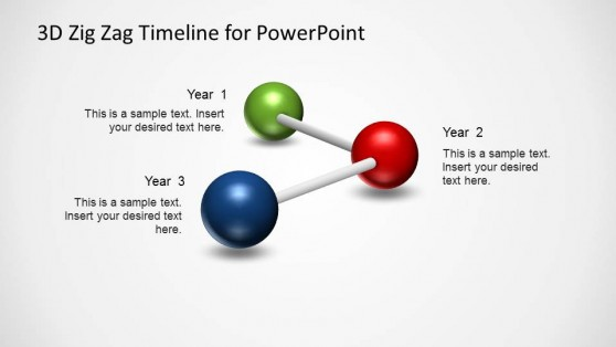 3 Milestones PowerPoint Timeline with Spheres  in Zig Zag
