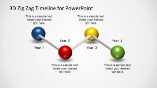 4 Steps Timeline created with 3D Balls and Sticks Diagram.