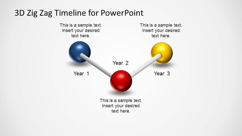 3 Steps PowerPoint Timeline created with a Zig Zag Balls and Stick Model.