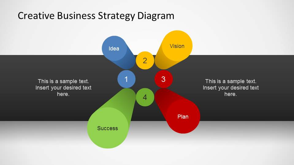 Business Strategy 3D Pillars Diagram for PowerPoint
