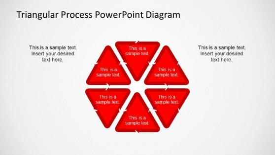 Hexagonal 6 Steps PowerPoint Diagram created with Triangular Process Shapes
