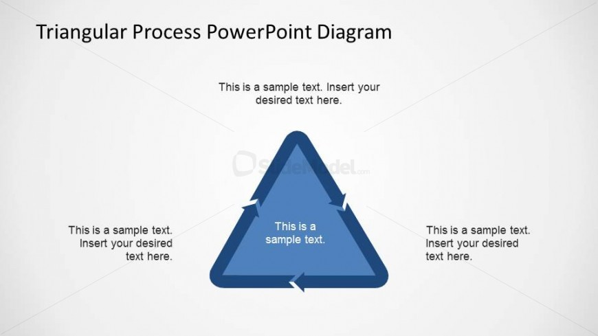 Simple Flat Triangular Process Flow PowerPoint Diagram