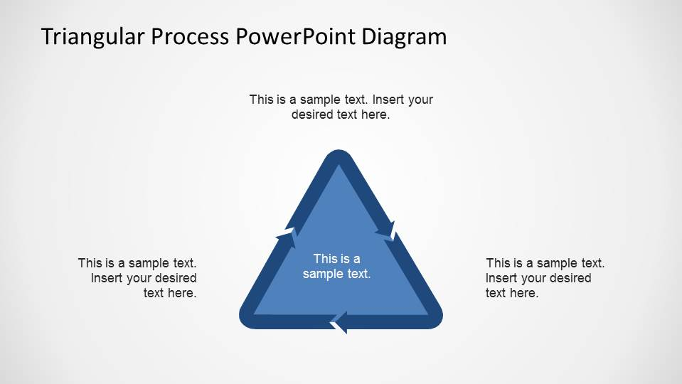 Simple Flat Triangular Process Flow PowerPoint Diagram