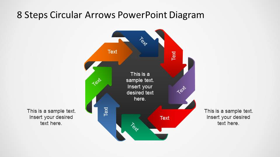 8 Steps Arrows Diagram around black octagon labled with Text