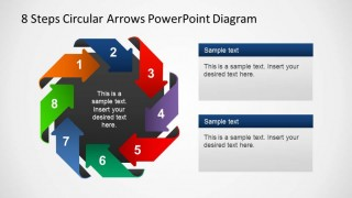 8 Steps PowerPoint Diagram wirh circular arrows labeled with numbers and with dark center.