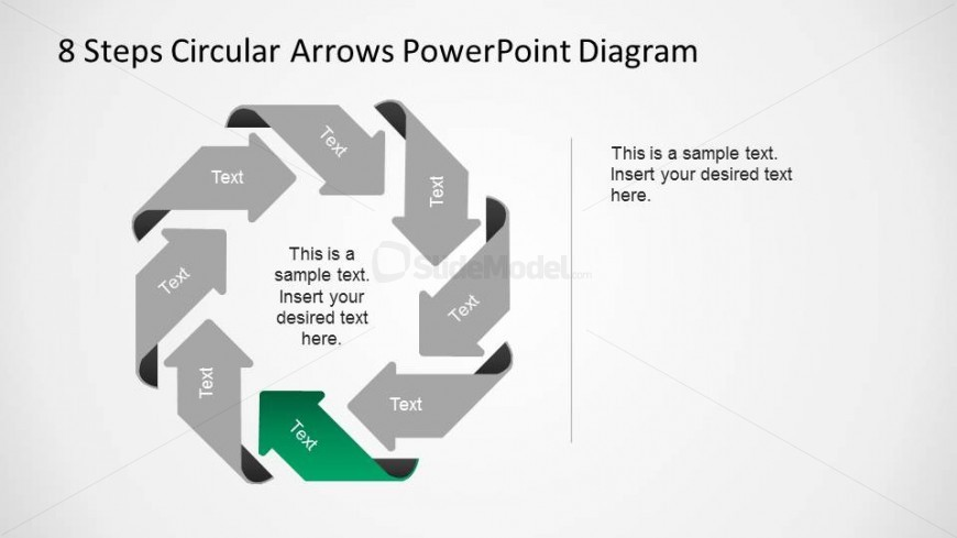 Sixth Step Highlighted and the rest greyed  in an 8 Step Circular Arrows PowerPoint Diagram