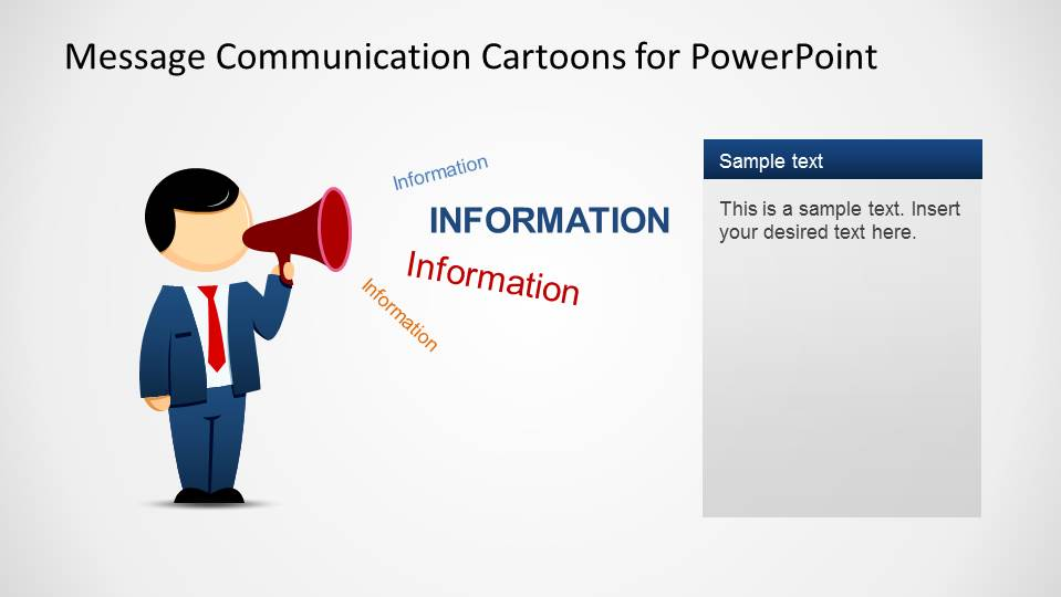 Mike PowerPoint Cartoon Character sending and information message using a bullhorn.