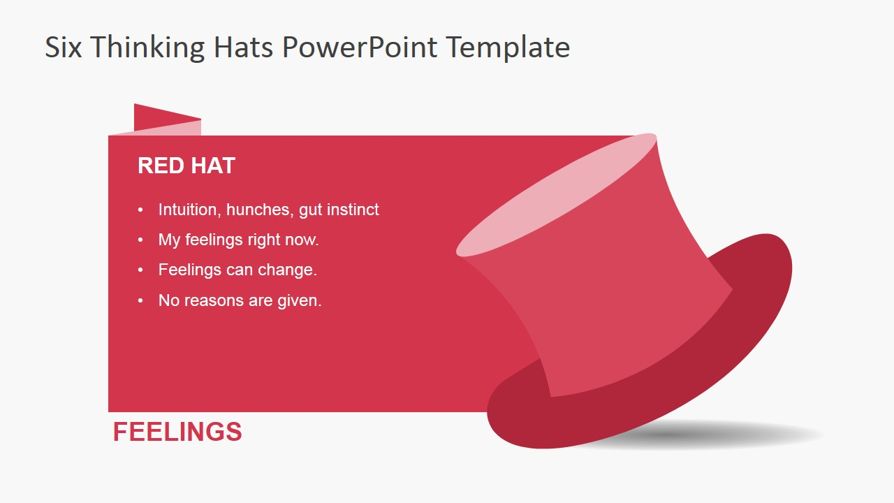 De bonos six thinking hats powerpoint template slidemodel red thinking hat for powerpoint alramifo Choice Image