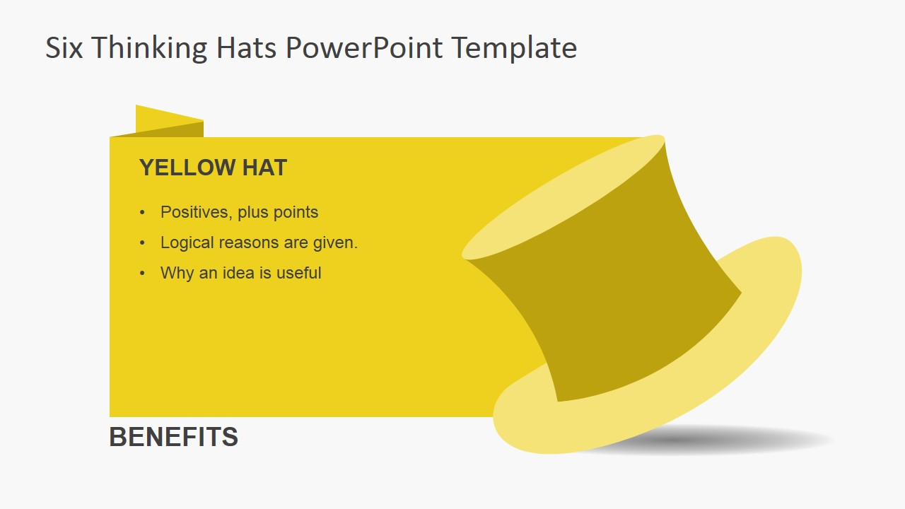 Yellow Thinking Hat For PowerPoint