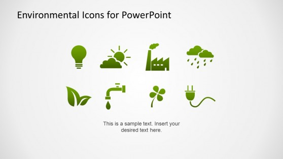 Flat Environmental Icons for PowerPoint Green Gradient